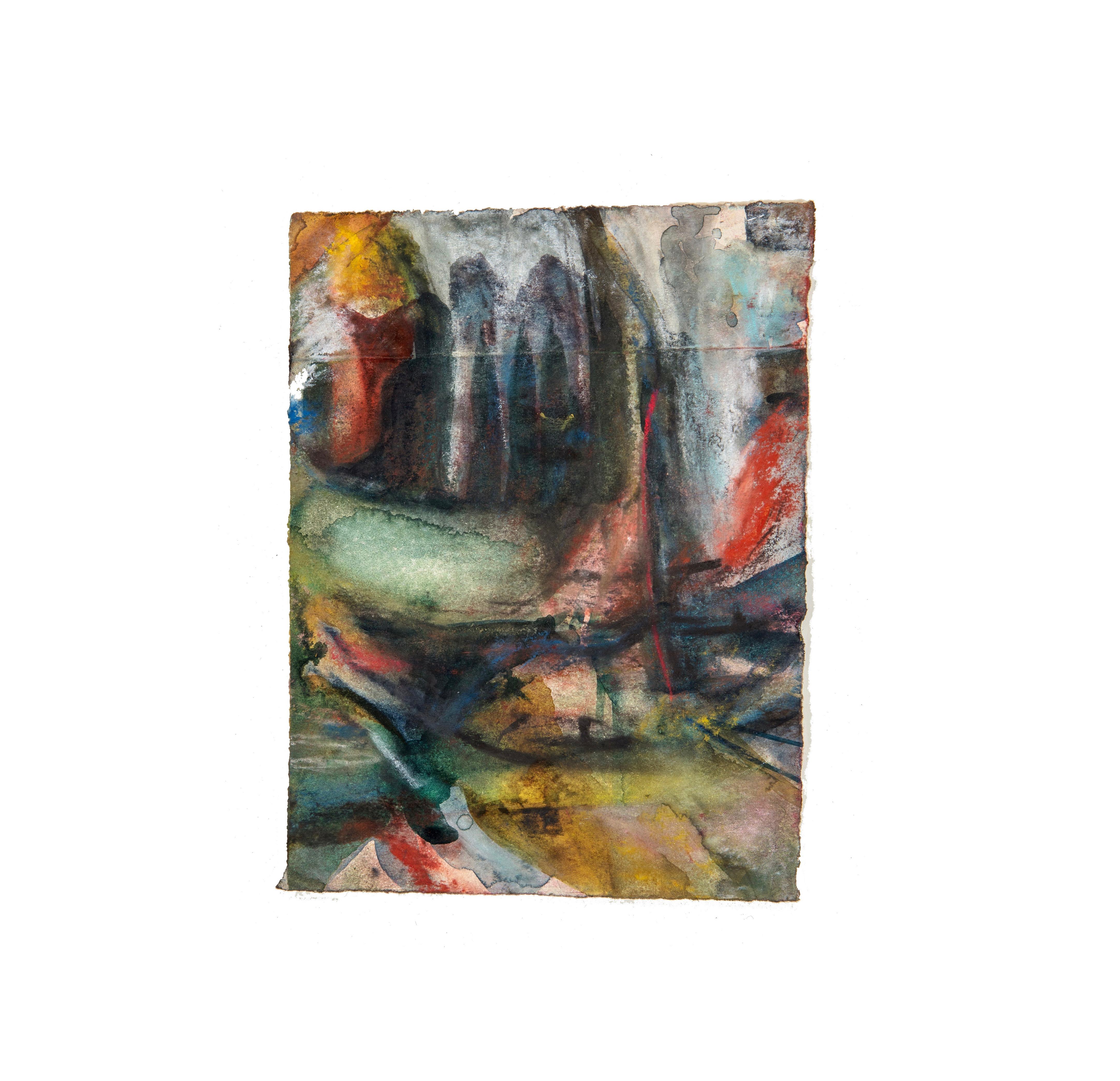 soft avenue. Watercolour and pencil on paper. 15cm x 13cm