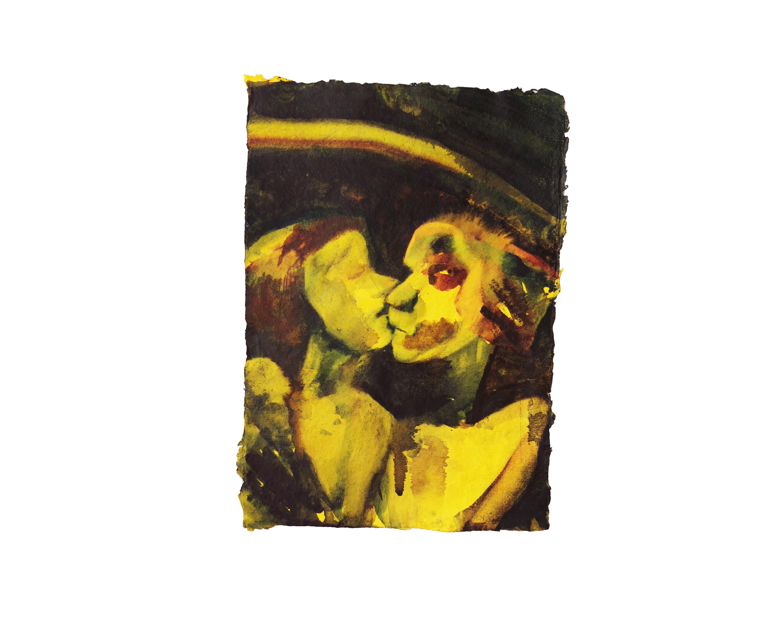 Lemony kiss. Watercolour on handmade paper, 14cm x 20cm