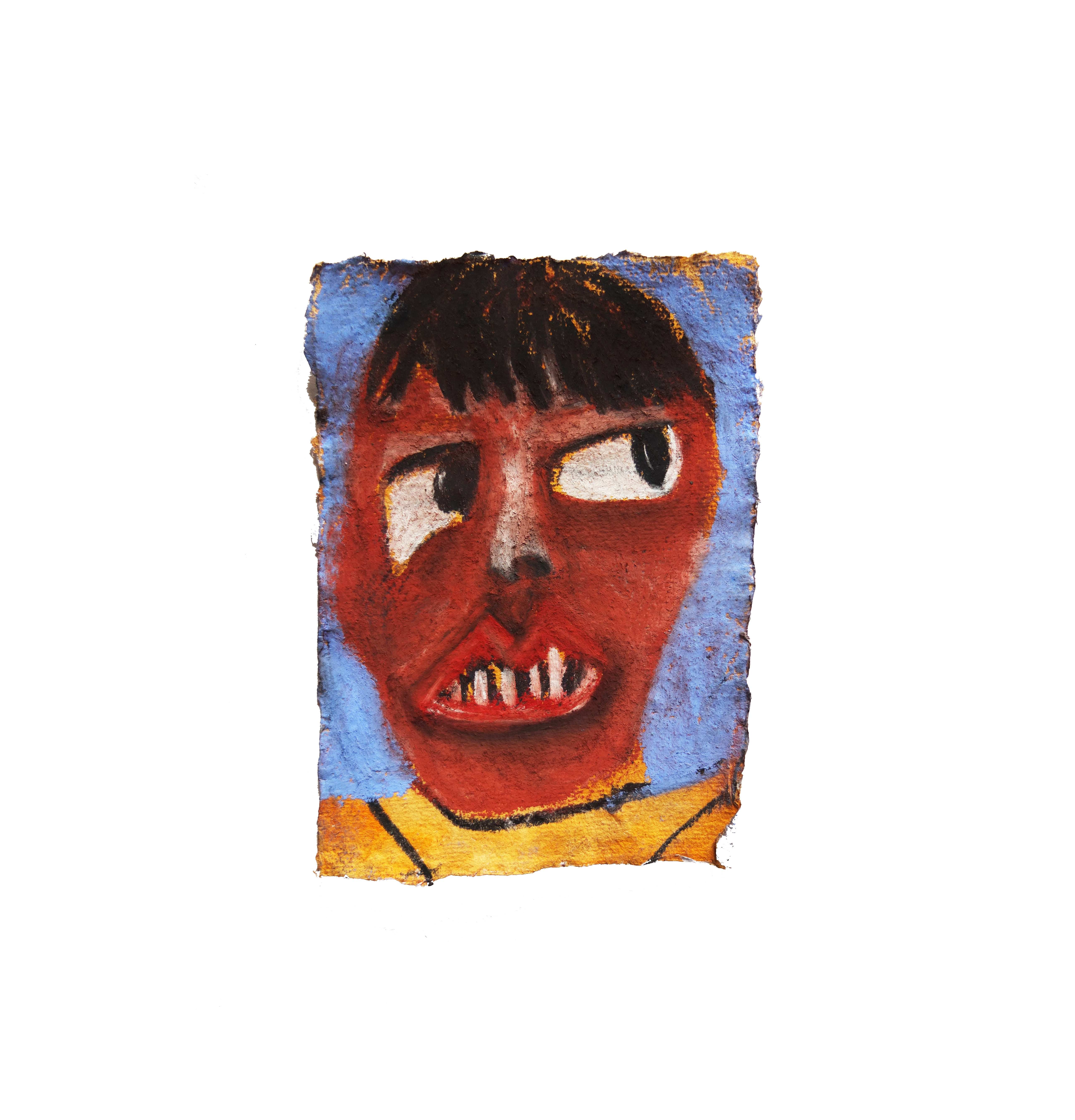 figure in yellow jumper. pastel on handmade paper, 12cm x 16cm