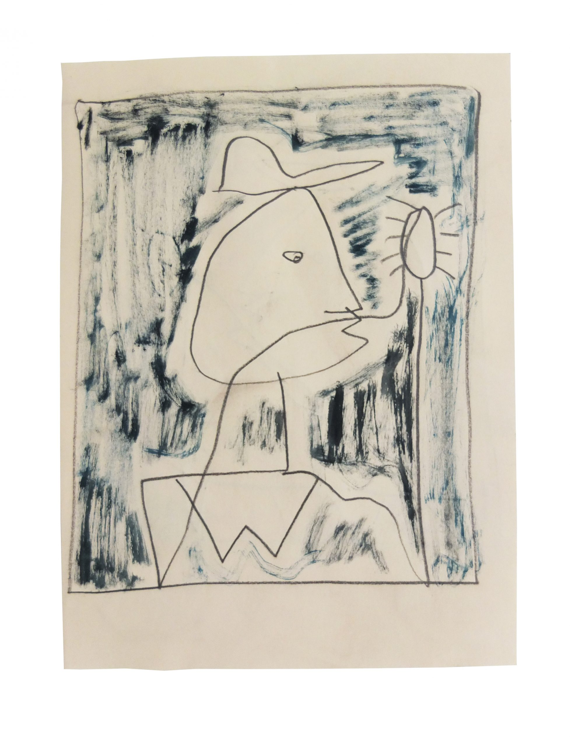 Figure wearing a hat holding a spider. Pencil and watercolour on paper 27.5cm x 20cm