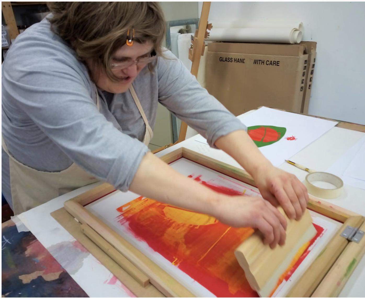Hayley Cave printmaking at Shallal Studios